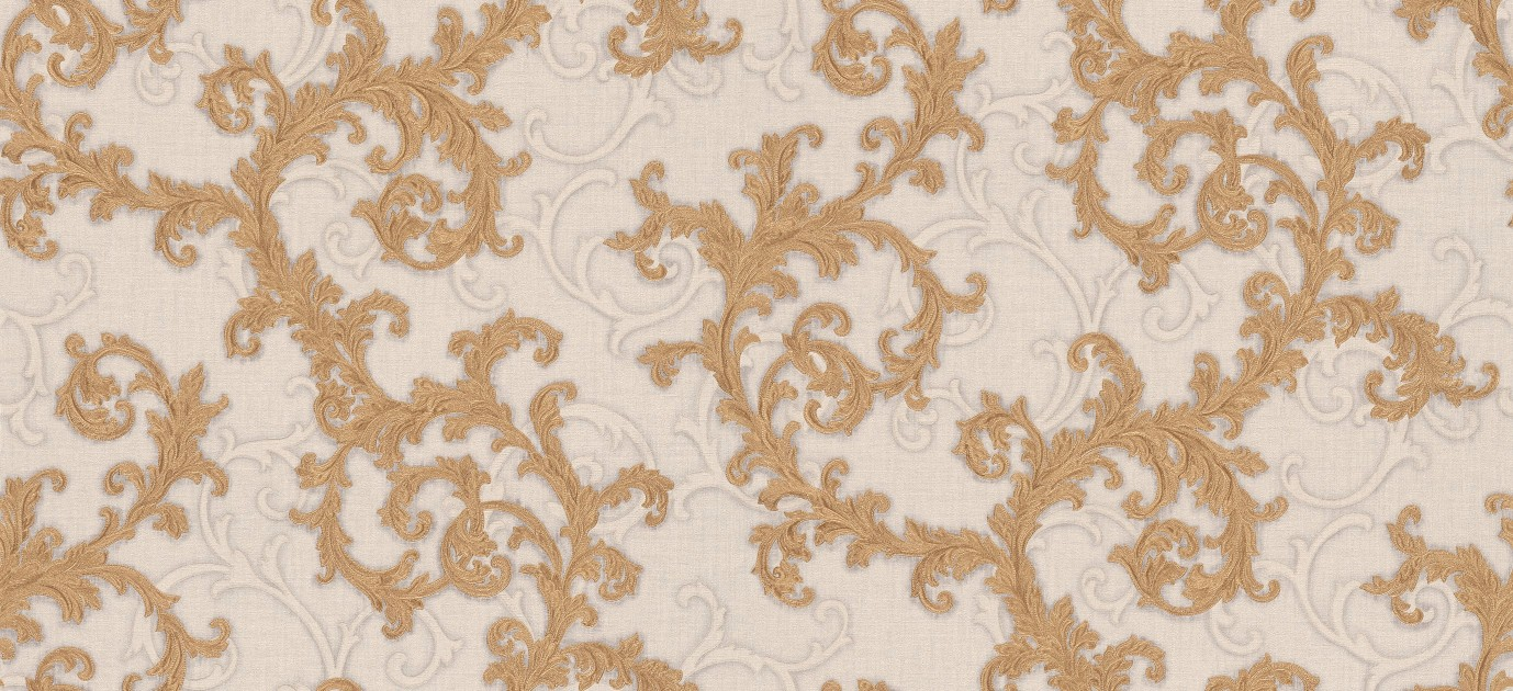 Versace Ii Classic Damask Wall Paper Brown Grey White